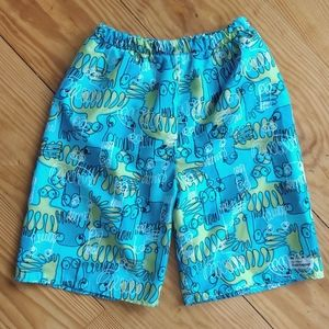 Flap Happy Octopus Squid Novelty Print Swim Trunks